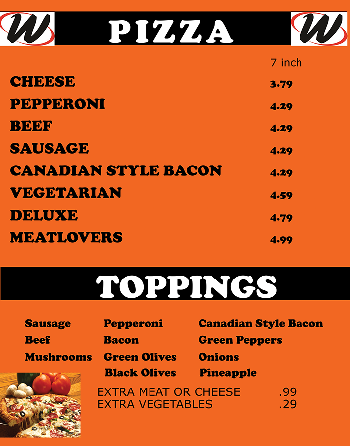 Weilers Pizza Menu